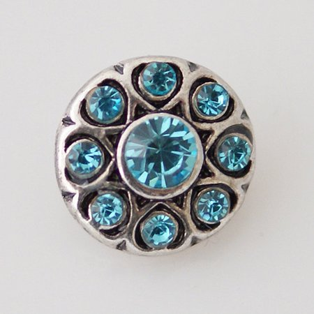 1 PC 12MM Blue Rhinestone Silver Candy Snap Charm Jewelry kb6504-s -