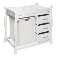 Badger Basket Sleigh Style Baby Changing Table with Hamper and 3 Baskets, White, Includes Pad