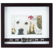 Walnut Wood Double Mat 6x4 Picture Frame - Dog Collar Design