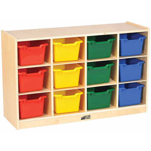 12-Tray Cabinet with Bins, Natural