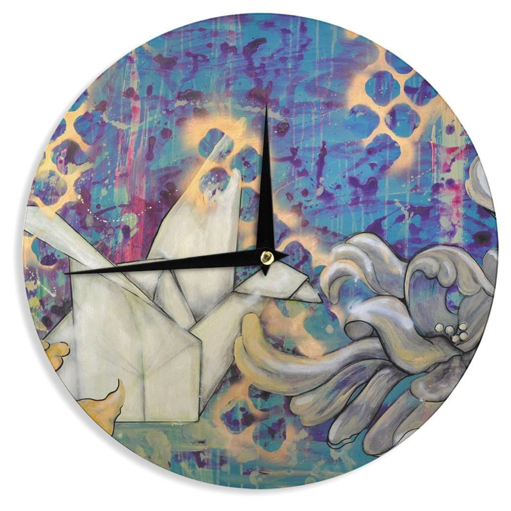 Kess InHouse Kira Crees 'Peonies and Crane' Blue Green Wall Clock