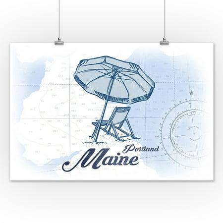 12 Lamps Wall Decor By World Traveler : Portland, Maine - Beach Chair & Umbrella - Blue - Coastal Icon - Lantern Press Artwork (12x18 ...