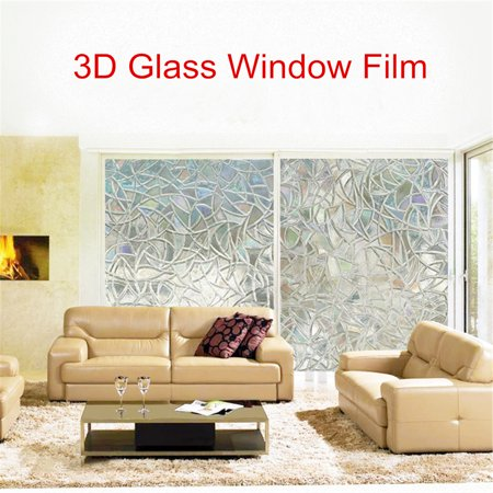 3D Static Cling Frosted Stained Flower Glass Anti-UV intrusion No Glue Non-Adhesive Static Removable Translucent Window Glass Film Sticker Decor