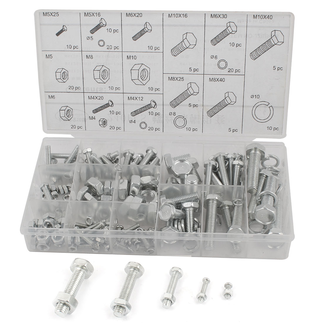 Uxcell Hexagon Nuts Spring Washers Hex Head Screw Bolts Assortment Kit (240-pack)