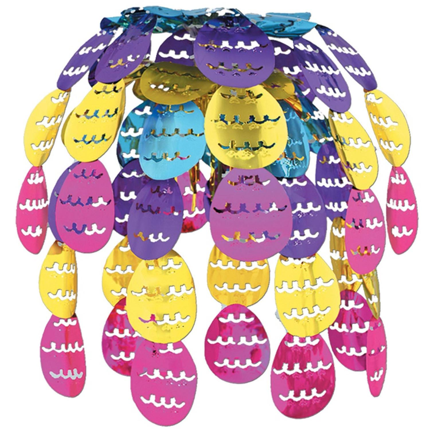"""Pack of 12 Hanging Metallic Easter Egg Cascade Party Decorations 24"""""""