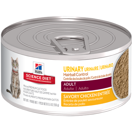 Hill's Science Diet (Get $5 back for every $20 spent) Adult Urinary & Hairball Control Savory Chicken Entrée Canned Cat Food, 5.5 oz, 24-pack