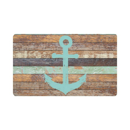 MKHERT Nautical Anchor Rustic Old Barn Wood Doormat Rug Home Decor Floor Mat Bath Mat 30x18 (Anchor Nautical Rug)