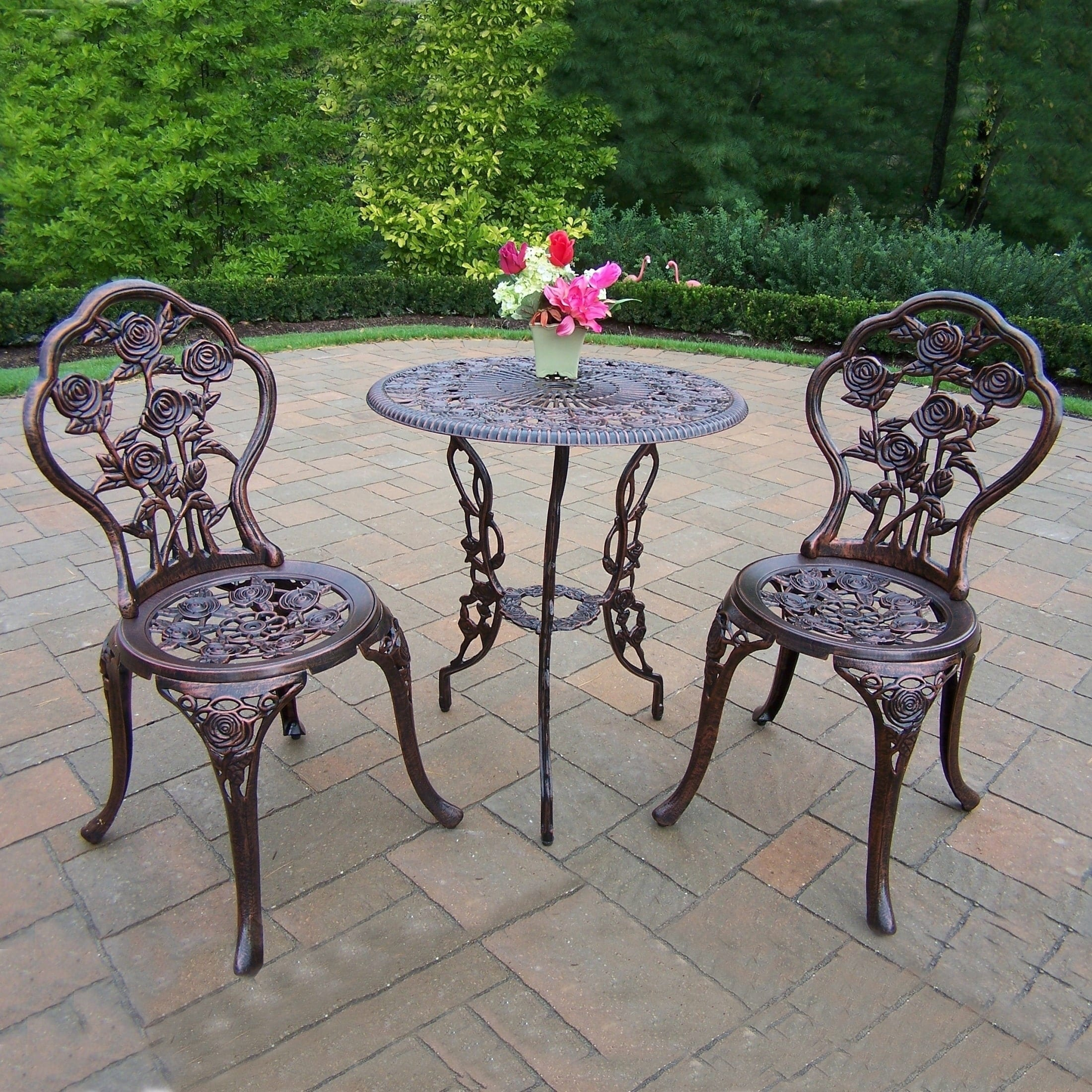 Oakland Living Corporation Camellia Cast Aluminum 3-piece Bistro Set with Table and 2 Chairs