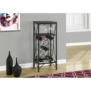 "MONARCH - HOME BAR - 40""H / BLACK METAL WINE BOTTLE AND GLASS RACK"