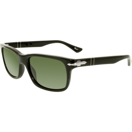 Persol Men's PO3048S-95/31-55 Black Rectangle Sunglasses ()