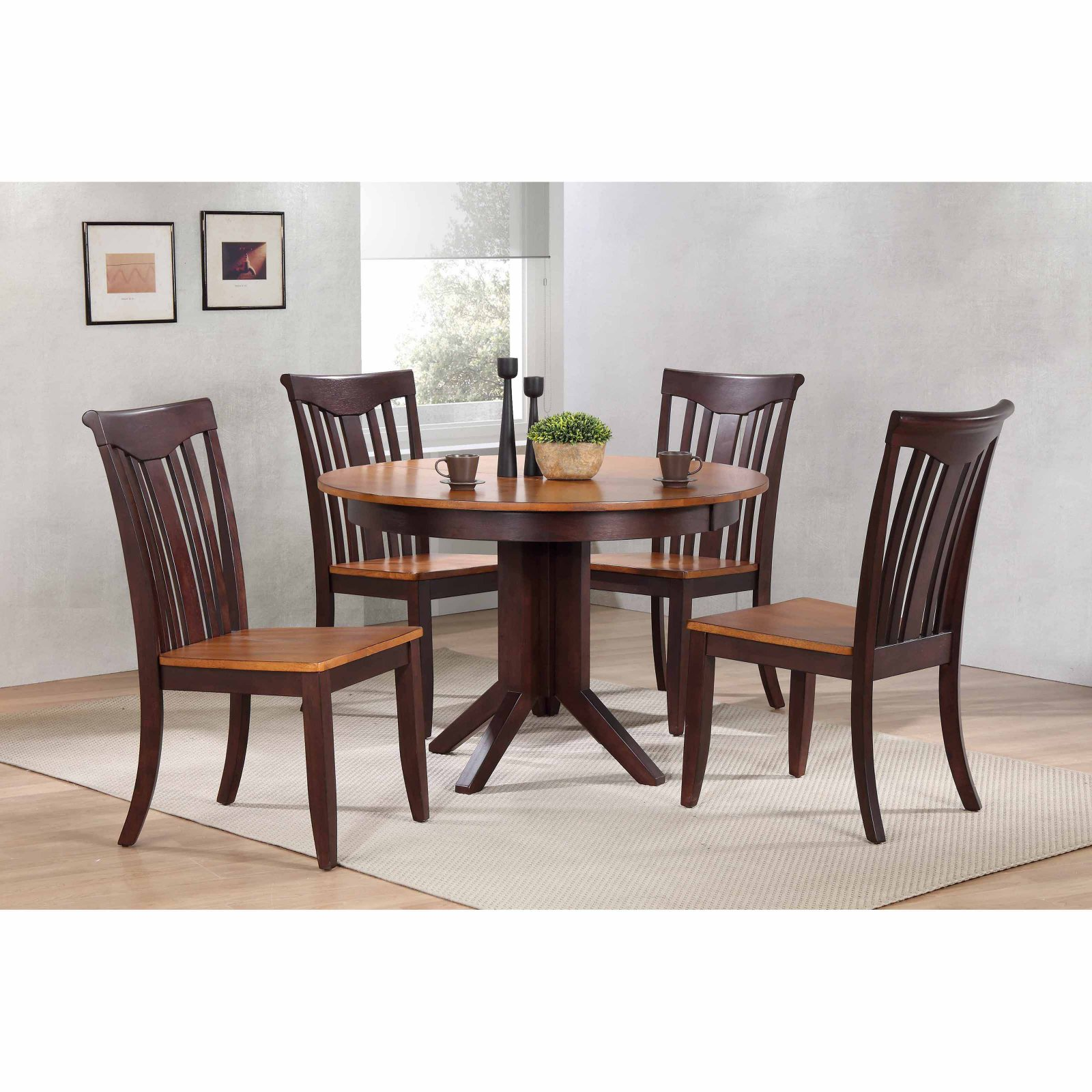 Iconic Furniture Contemporary 45 in. Slat Back 5 Piece Round Dining Table Set