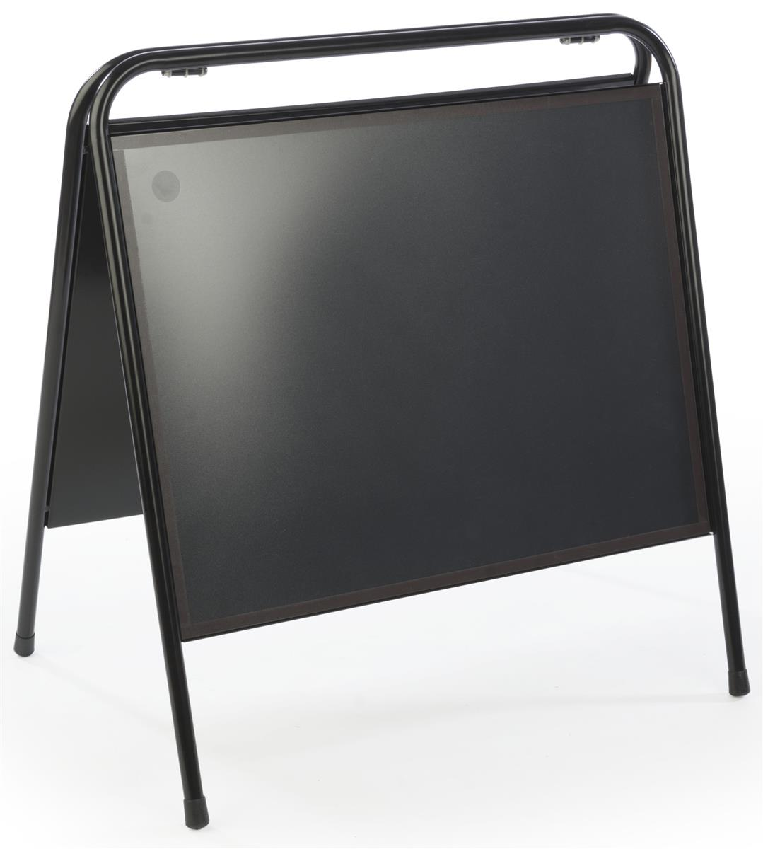 "Sidewalk Sandwich Board Sign Holder, 24"" x 18"", Portable, Magnetic Lens (Black Steel) (MNSGN2418)"