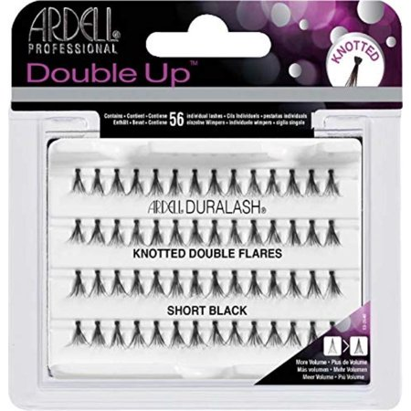 Double Individuals Knotted Short Eyelash, Black, Knot-free, natural looking lashes By (Look Knot)
