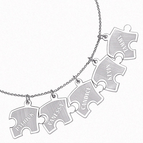 """Personalized Sterling Silver Family Puzzle Name Pendant, 18"""""""