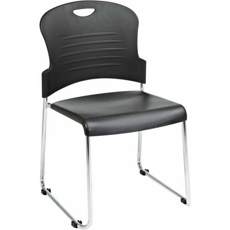 Office Star Stack Chair with Sled Base, Plastic Seat and Back, Chromeed Steel Frame, Ships 4 per Carton, Multiple Colors