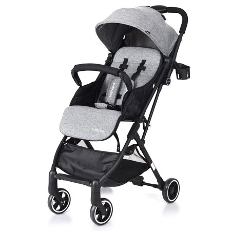 Costway Foldable Baby Stroller Lightweight Kids Carriage Pushchair W/ Foot Cover Gray