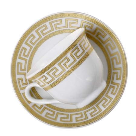 Euro Porcelain 12-Pc. 'Golden Greek Key' Tea Cup Coffee Set, Premium Bone China, 24K Gold-Plated, Complete Service for (Fine Bone China Tea Set)