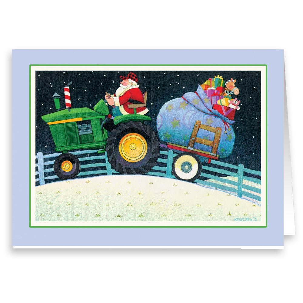 """""""Santa on His John Deere Tractor Sleigh!"""" Christmas on the Farm - Holiday Christmas Card - 18 Cards and 19 Envelopes"""