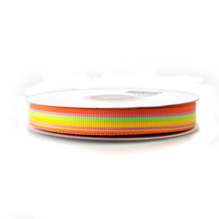 Rainbow Striped Grosgrain Ribbon, 5/8-inch, 25-yard, Orange/Mint/Yellow/Azalea (Striped Ribbon)