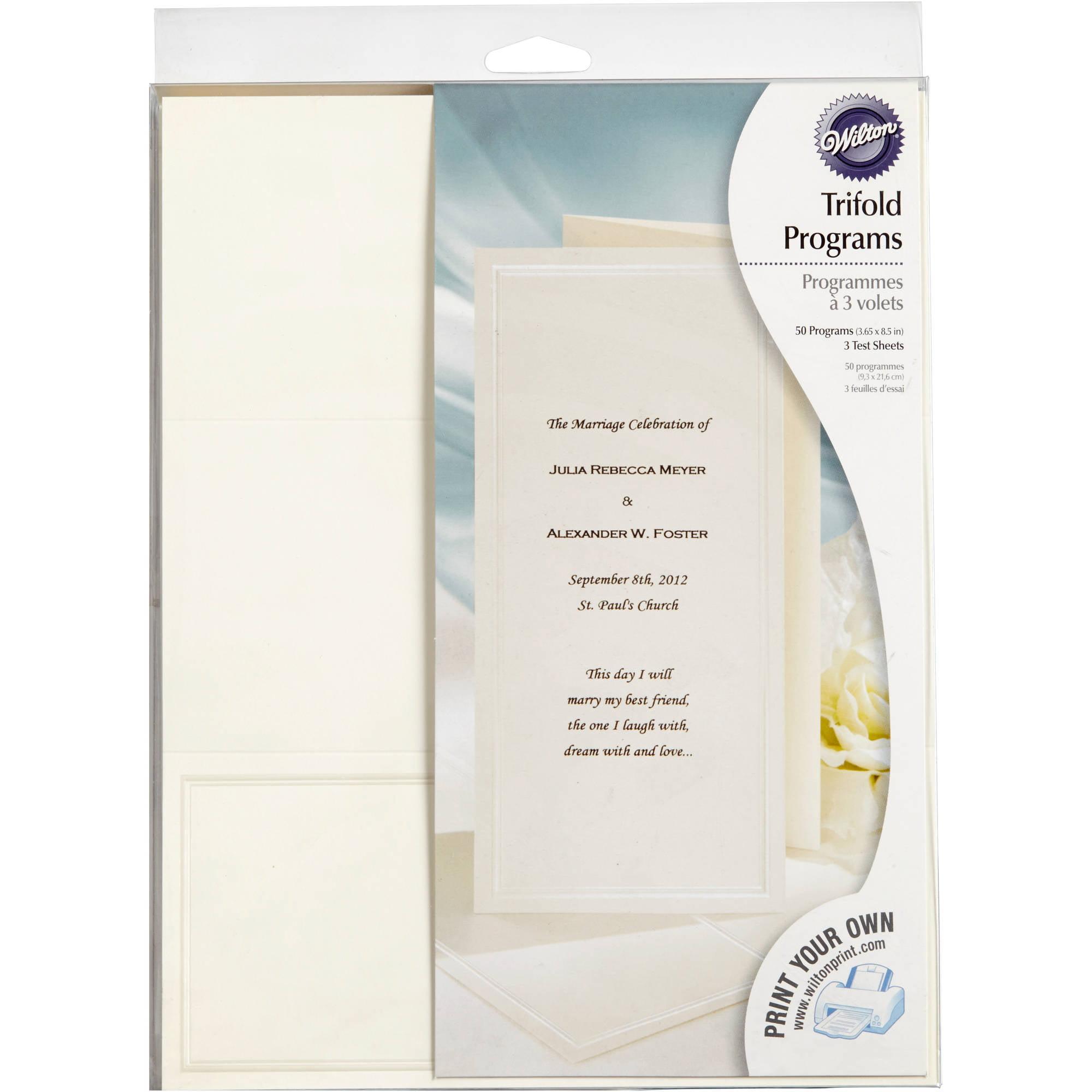 Wilton Print-Your-Own Tri-Fold Programs Kit, 50 ct. 1008-545 ...