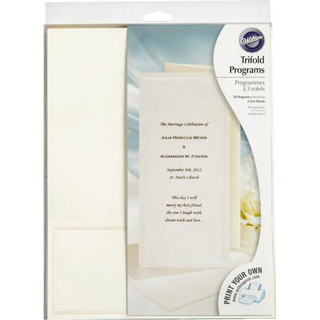 Wilton Print-Your-Own Tri-Fold Programs Kit, 50 ct. 1008-545