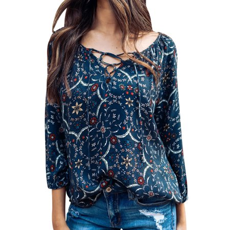Starvnc Women Lace Up V Neck Long Sleeve Floral Printed Tops