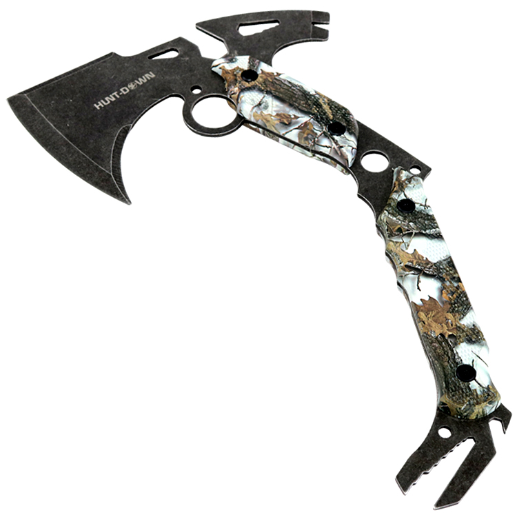"Hunt-Down 13"" Hunting Survival Axe With Sheath - Gray Camo Color Handle"