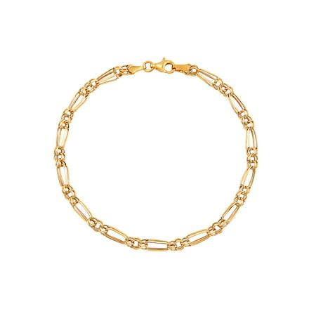 Brilliance Fine Jewelry 10K Yellow Gold Polished Alternating Oval and Round Links Bracelet, 7.5