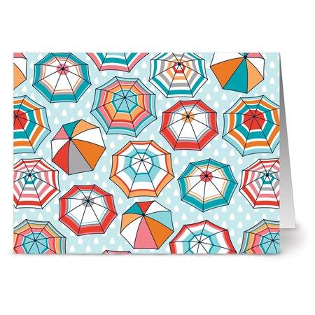 - 24 Note Cards - Umbrella Motif - Blank Cards - Aqua Blue Ocean Envelopes Included