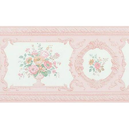 879057 Peachy Pink Satin Victorian Floral Wallpaper Border FDB02007  979b02007
