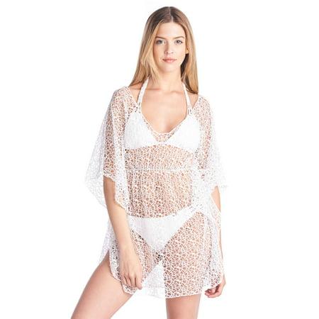Shore Trendz Women's Crochet Short Sleeve Swimwear Cover-up Beach Dress Made in USA - Jersey Shore Dress Up