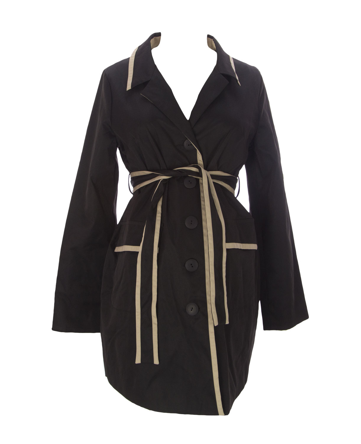 9FASHION Maternity Women's Goma Button-Up Belted Coat, Small, Black