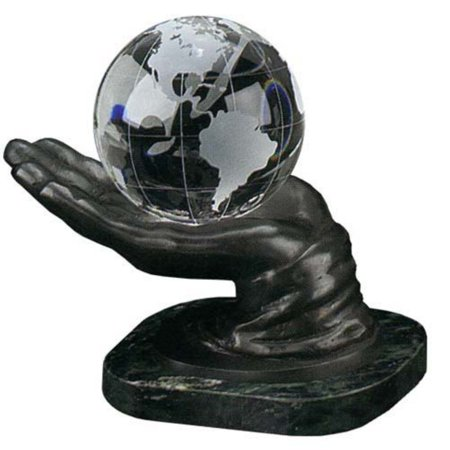 In Your Hand World 4-Inch Diameter Desk Globe Round Crystal Globe