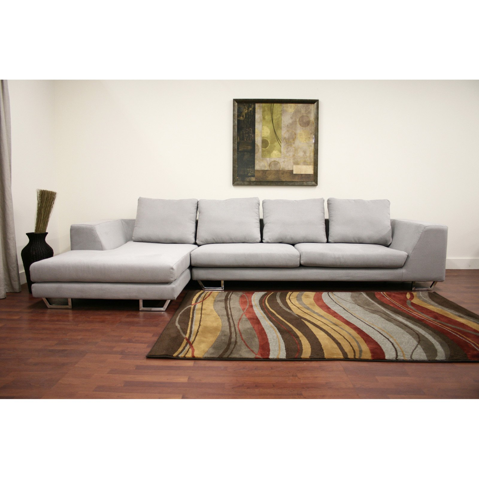 Modern Reversible Small Space Configurable Microfiber Sectional
