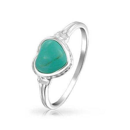 Blue Enhanced Turquoise Bezel Heart Ring For Women For Teen For Girlfriend 925 Sterling Silver December Birthstone