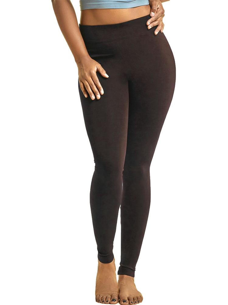 Mopas Womens Plus Size Solid Nylon Full Length Leggings Stretch Pants Long 1X 2X 3X