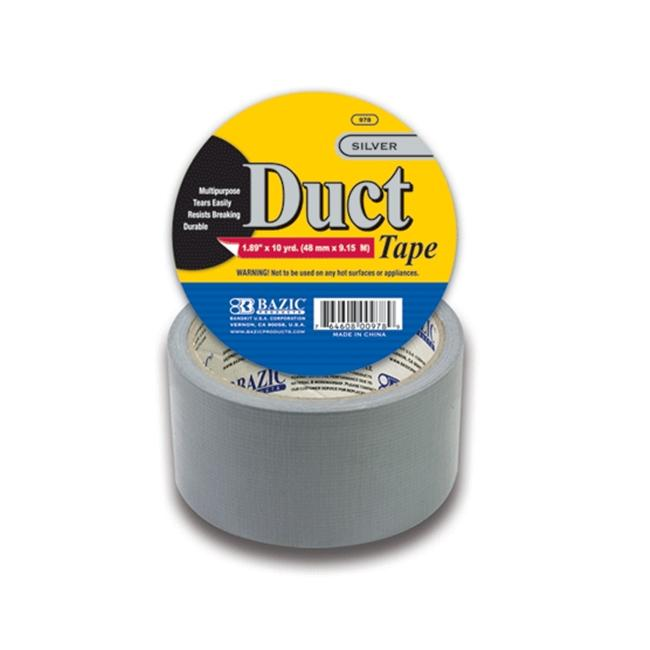Bazic 978-36 1. 89 inch x 360 inch Silver Duct Tape- Pack of 36