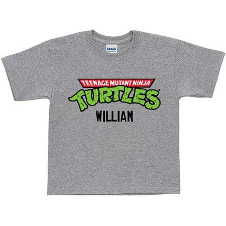 Retro Toddler Tees (Personalized Teenage Mutant Ninja Turtles Retro Logo Toddler Gray T-Shirt )