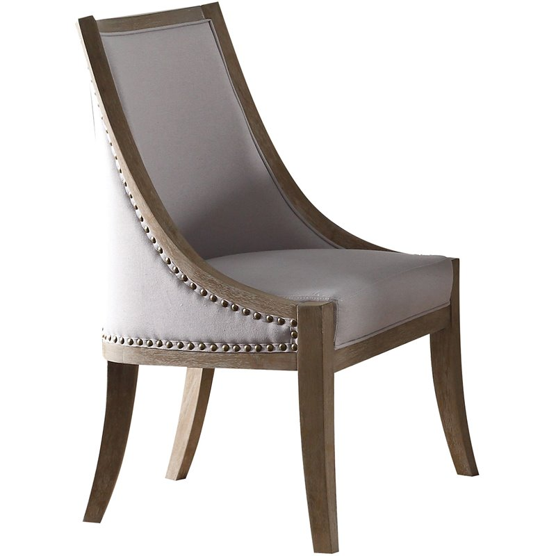 Brown Benzara BM179935 Fabric Upholstered Side Chair Set of Two