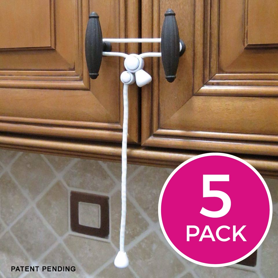 Kiscords Original Childproof Cabinet Lock   5 Pack White by Kiscords