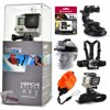GoPro Hero 4 HERO4 Silver CHDHY-401 with 64GB Ultra Memory + Suction Cup Mount + Headstrap + Chest Harness + Hand Wrist Glove + Floaty Strap With a built-in touch screen LCD for composing shots and accessing the menu, the GoPro HERO4 Silver eliminates the need for an LCD BacPac. It is able to capture Full HD 1080p at up to 60 fps and - for even more detailed shots - capture 2.7K (2704 x 1520) at 30 fps and 4K (3840 x 2160) at 15 fps. There are a number of other frame rates and resolutions as well, including a 100 fps mode ideal for creating slow motion effects that is available in 960p and 720p. But the HERO Silver's capabilities don't stop with video. It can also take 12-megapixel stills, as individual shots, in intervals for stitching together time-lapse movies, or in momentary bursts of up to 30 photos per second - the latter helping ensure you catch fast action at just the right moment.<br><br><b>In the box:</b><br>- GoPro HERO4 Silver<br>- Rechargeable Battery<br>- Standard Housing (131')<br>- Skeleton Backdoor<br>- Curved Adhesive Mount<br>- Flat Adhesive Mount<br>- Quick Release Buckle<br>- 3-Way Pivot Arm<br>- USB Cable<br><br><b>47th Street Photo Accessories:</b><br>- 64GB Transcend Class 10 microSD Card (633x)<br>- Car Suction Cup Mount<br>- Head/Helmet Strap Mount<br>- Chest Mount<br>- Floating Float Hand Grip Bobber<br>- Wrist Glove Strap<br>- Tripod Adapter<br>- 47th Street Photo Cleaning Cloth<br>