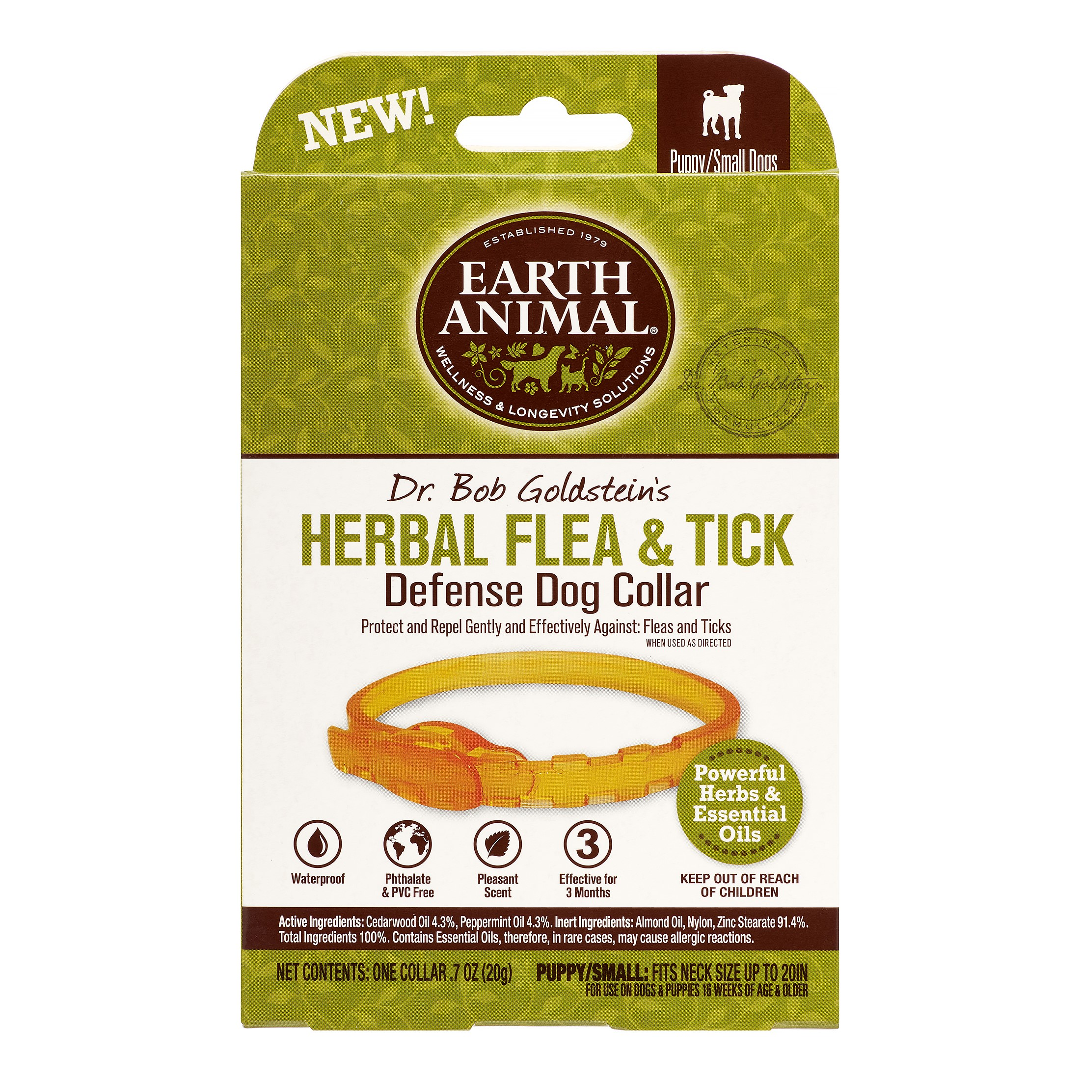 Earth Animal Flea and Tick Prevention Collar for Small Dogs