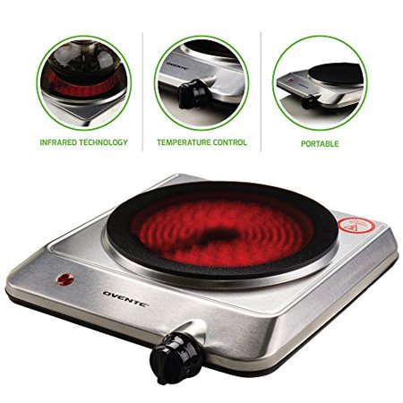 "Ovente Countertop Infrared Burner – 1000 Watts – 7.5"" Ceramic Glass Single Plate Cooktop with Temperature Control, Non-Slip Feet – Indoor/Outdoor Portable Electric Stove – Stainless Steel (Square Flat Stainless Steel Burner)"