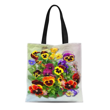 SIDONKU Canvas Tote Bag Flowers Pansy Delight Floral Bright Garden Gardening Summer Shirleypoppy Reusable Handbag Shoulder Grocery Shopping Bags