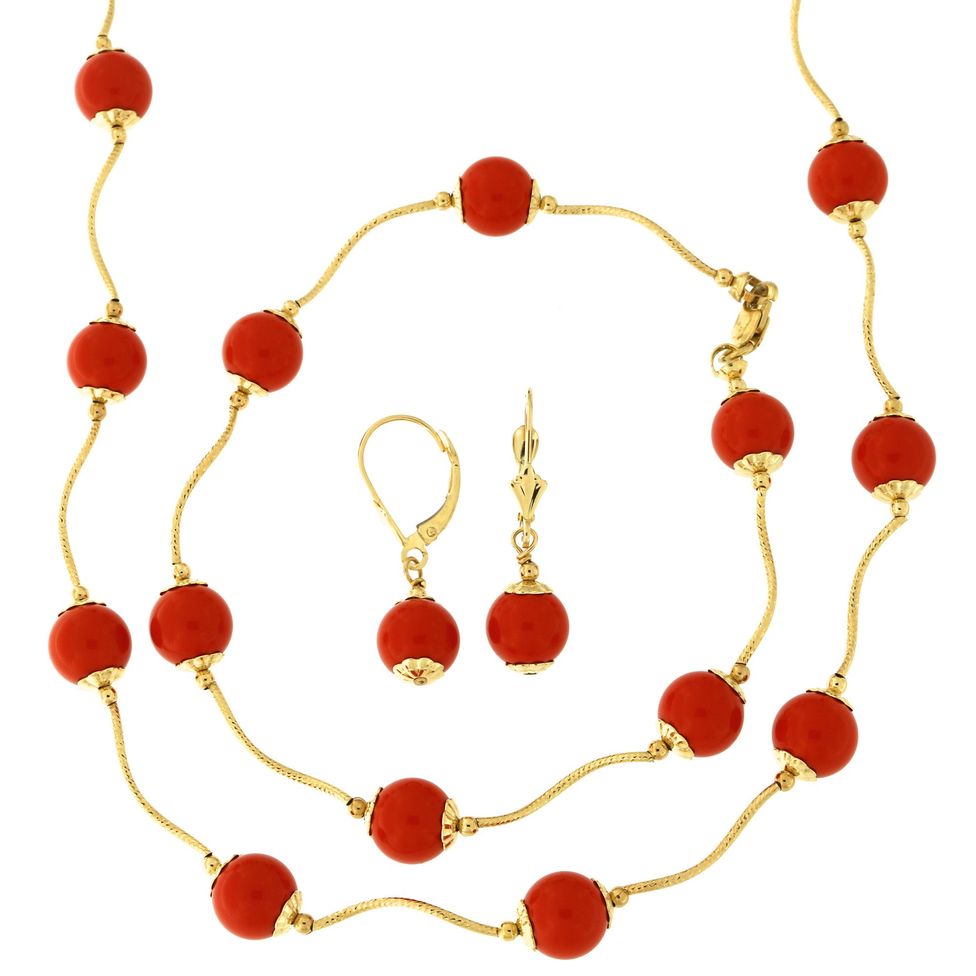14k Yellow Gold Diamond Cut 8mm Capped Simulated Coral Station Necklace, Earrings and Bracelet Set by