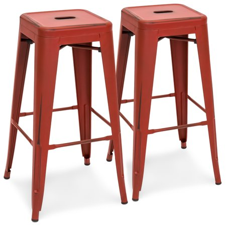 2 Hole Kitchen - Best Choice Products 30in Metal Modern Industrial Bar Stools with Drainage Holes for Indoor/Outdoor Kitchen, Island, Patio, Set of 2, Distressed Red