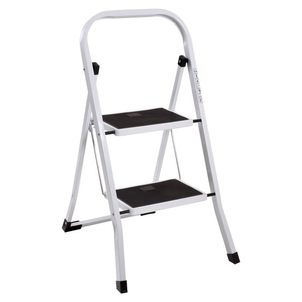 Ollieroo Step Stool En131 Steel Folding 2 Step Ladder With Hand Grip Anti Slip Steps Non Marring Feet 330 Pound Capacity White Finish Walmart Com Walmart Com