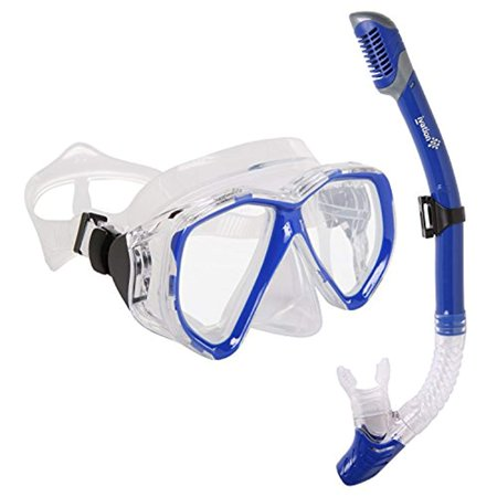 Snorkel Mask Set - Adult Snorkeling Gear - Double Lens Diving Mask & Snorkel w/ Dry Top, Lower Purge Valve, Blue for $<!---->