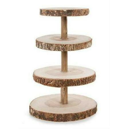"David Tutera 4-Tier Rustic Wood Slice Cupcake Stand - 16.25"" Tall"