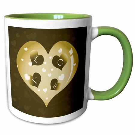 3dRose Large Tan Heart With Smaller Hearts That Spell Love - Two Tone Green Mug, 11-ounce